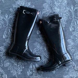 Hunter Original Tall Gloss Rain Boot Black Size 9